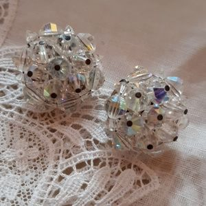 Jewelry - White Crystal Clip Earrings